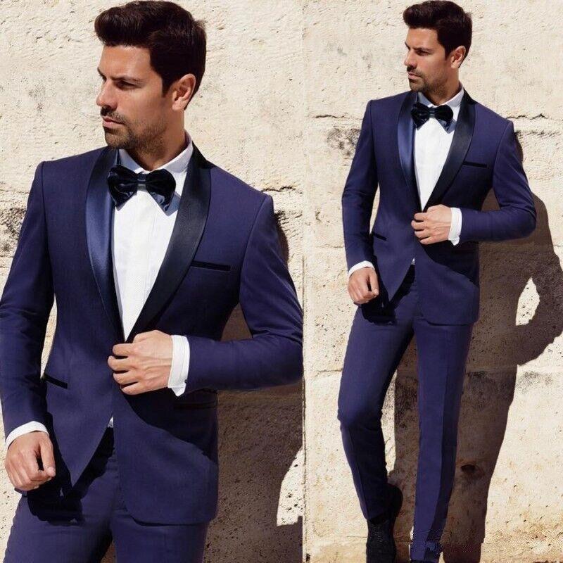 New Style Groomsmen Navy Blue Groom Tuxedos Shawl Satin Lapel Men Suits Wedding Best Man 2 pieces ( Jacket+Pants+Tie ) C542
