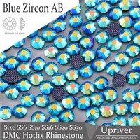 upriver iron on dmc hotfix rhinestones blue zircon ab machine cut glass beads garment accessories