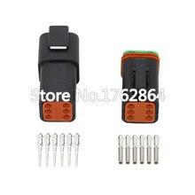 Siyah DT04-6P/DT06-6S konnektörler 6 Pin otomotiv su geçirmez tel elektrik erkek dişi konnektör fiş 22-16AWG