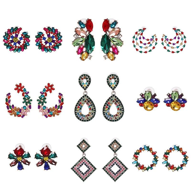 JUJIA Trendy Multicoloridos de Cristal Brincos de Strass de Cristal Do Parafuso Prisioneiro brincos Perfuração Do Parafuso Prisioneiro Para As Mulheres Presente de Natal