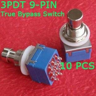 10 x 3pdt 9-pino efeitos stomp pé interruptor true bypass