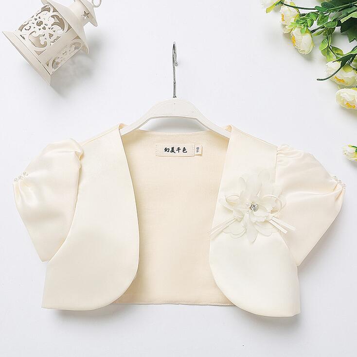 Verão meninas de manga curta bege flor pérolas frisado boleros cetim algodão jaqueta combinando festa envolve para 6 8 10 12 14 anos