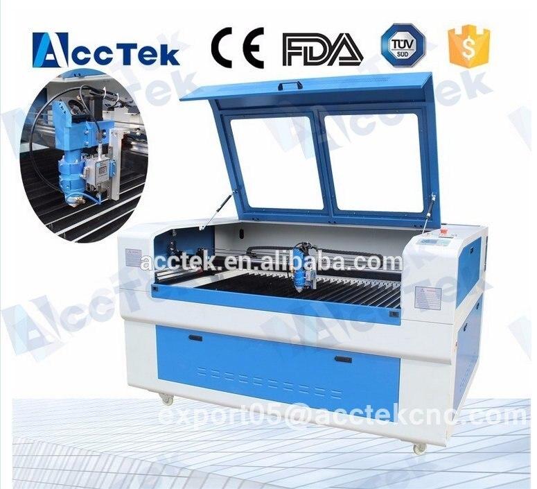 Máquina de maquinaria de co2 AKJ1390H para acero inoxidable/máquina de corte láser de parches bordados hecha en China para plástico contrachapado
