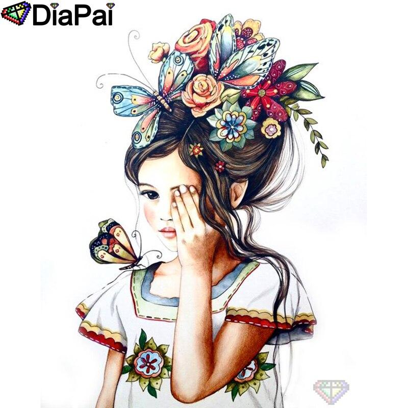 "DIAPAI 100% taladro cuadrado/redondo completo 5D DIY pintura de diamante ""mariposa chica"" bordado de diamantes punto de cruz decoración 3D A19205"