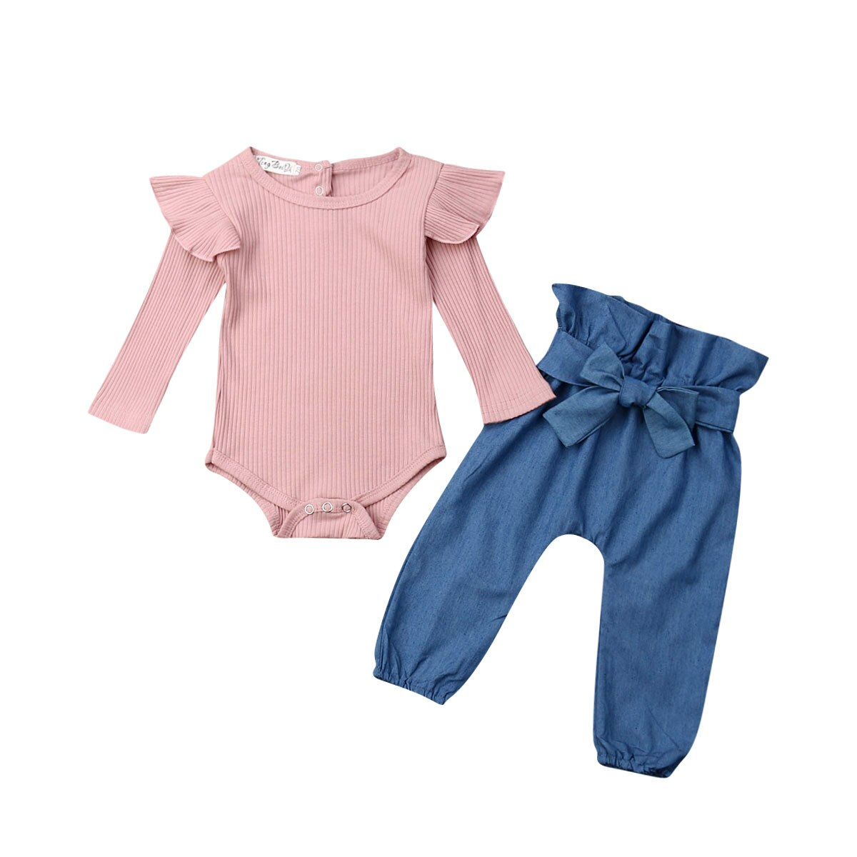 0-24M Newborn Baby Girl Long Sleeve Solid Color Cotton Bodysuit Tops Denim Long Pant Jeans 2PCS Autumn Clothes Set