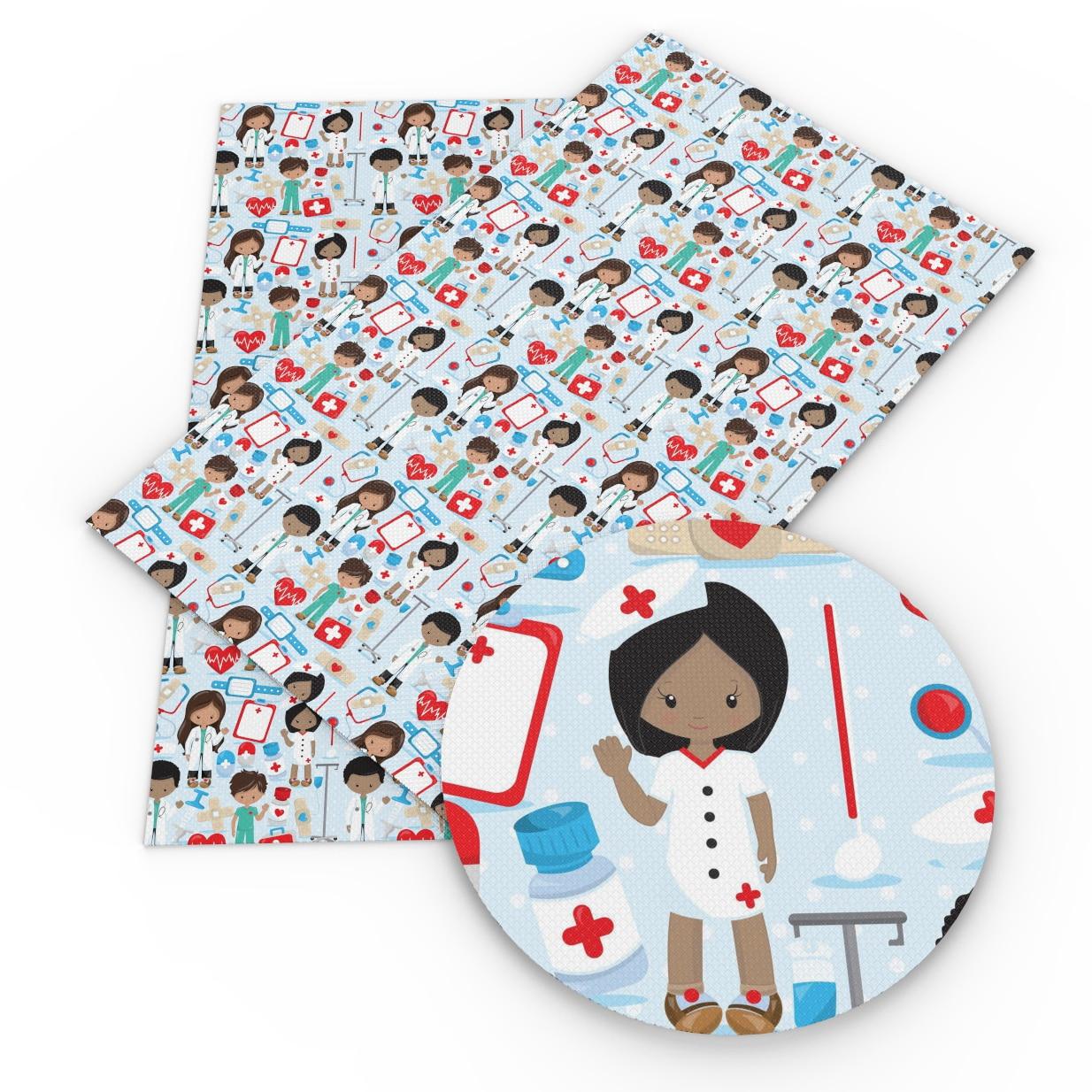 20*34 см мультфильм медсестры точка Яблоко печатных искусственная Синтетическая кожа ткань, DIY материалы ручной работы для волос лук мешок, 1Yc4717