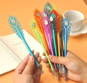 12pcs/set , Colored Peacock Feather Gel Pen , 12 color Gel Ink Pen Set for Drawing and Marking