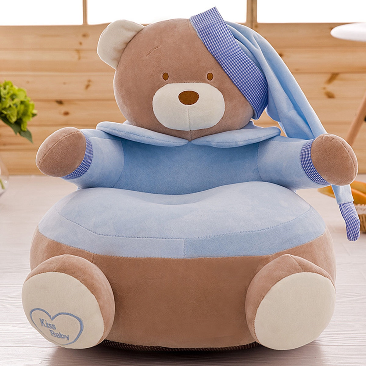 Infant Baby Seats Skin Soft Sofa Plush Kids Bean Bag Chair Comfort Cartoon Bear Chairs Washable Only Cover NO Filling