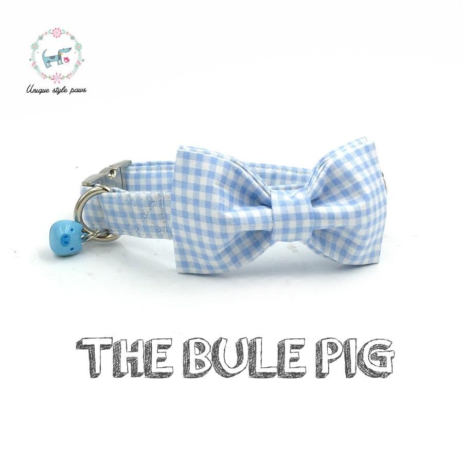 Ошейник для собак в синюю клетку, с синим колокольчиком и бантом, хлопковое ожерелье для собак и кошек, регулируемые ошейники для собак и пов...