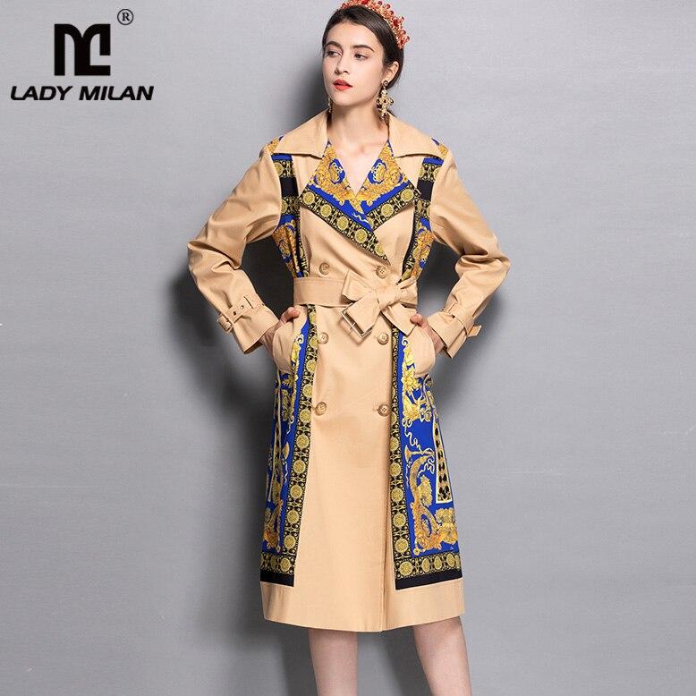 Gabardina de diseñador de moda elegante con Cinturón estampado de mangas largas y cuello entallado de primavera para mujer