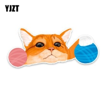 YJZT 17CM*7CM Interesting Personality Cat And Wool PVC Car Sticker Decal Accessories 5-1342