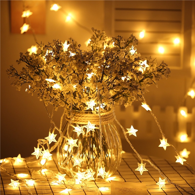3AA batería alimentada 5M 50 LED estrella Navidad guirnalda luces coloridas luces intermitentes vacaciones fiesta Navidad boda