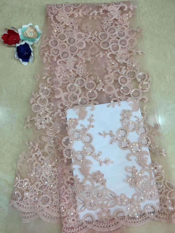 2019 tela de encaje africano de alta calidad, tela de encaje de tul francés con apliques de 5 yardas, encaje de red para vestido de novia D62