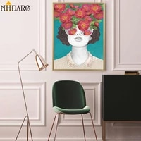 vogue nordic posters and prints flower girl portrait wall art canvas painting pictures for living room scandinavian home decor