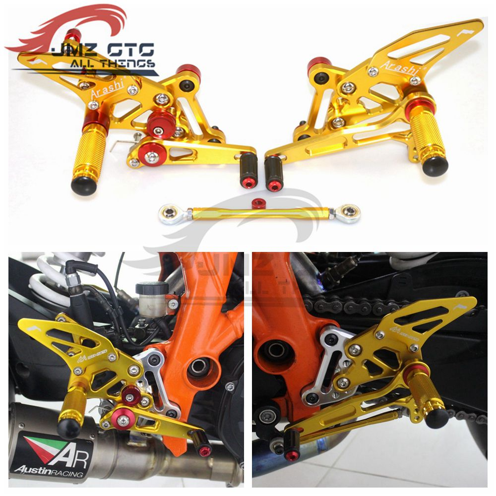 Juego trasero ajustable CNC para motocicleta, reposapiés, reposapiés para KTM 1290 SUPER DUKE R 2014 2015 2016 2017