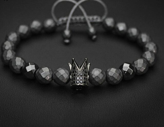 one piece popular black micro pave CZ crown pendant round black crystal beads handmade bracelet xyb151