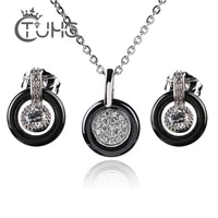 silver color fashion ceramic jewelry set cubic zircon statement long pendant necklace stud earrings wedding jewelry for women