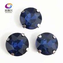 Accessoires pour vêtements SWB14   Livraison gratuite, encre bleue, forme ronde de bonne qualité, en cristal de verre cousu sur des griffes, avec bricolage