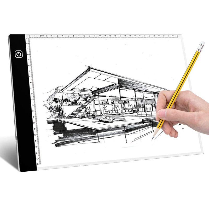 Tablero de dibujo ligero LED A4, caja de luz acrílica, dibujo, dibujo, tableta, seguimiento de artista, placa trasera, herramientas de pintura de diamantes