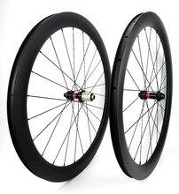700C 50mm profondeur route frein à disque roues en carbone 23mm largeur pneu de vélo/tubulaire carbone roues avec moyeux NOVATEC 411/412-CL