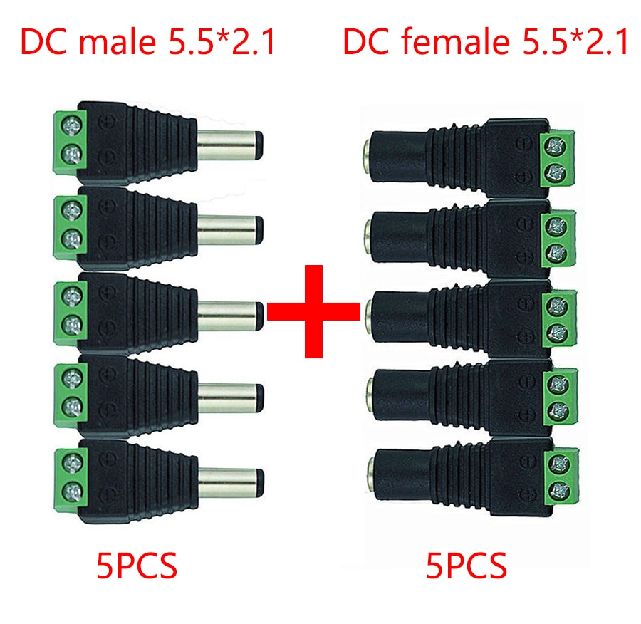 5.5mm x 2.1mm Female Male DC Power Plug Adapter for 5050 3528 5060 Single Color LED Strip and CCTV C
