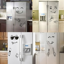 Новый 4 вида стилей стикер на стену со смайликом счастливое вкусное Лицо наклейки на холодильник Yummy для украшения пищевой мебели художественный постер Сделай Сам ПВХ