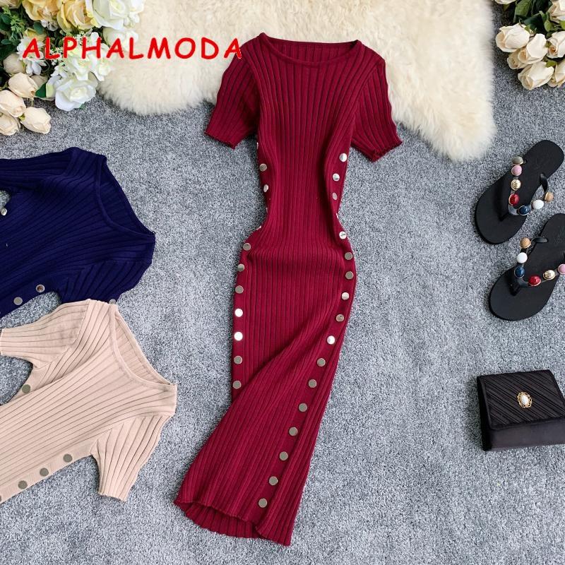 ALPHALMODA 2019 Retro Knitted Dress Double-row Button Design Round Collar Short Sleeves Slim Step Dress Sheath Vestidos