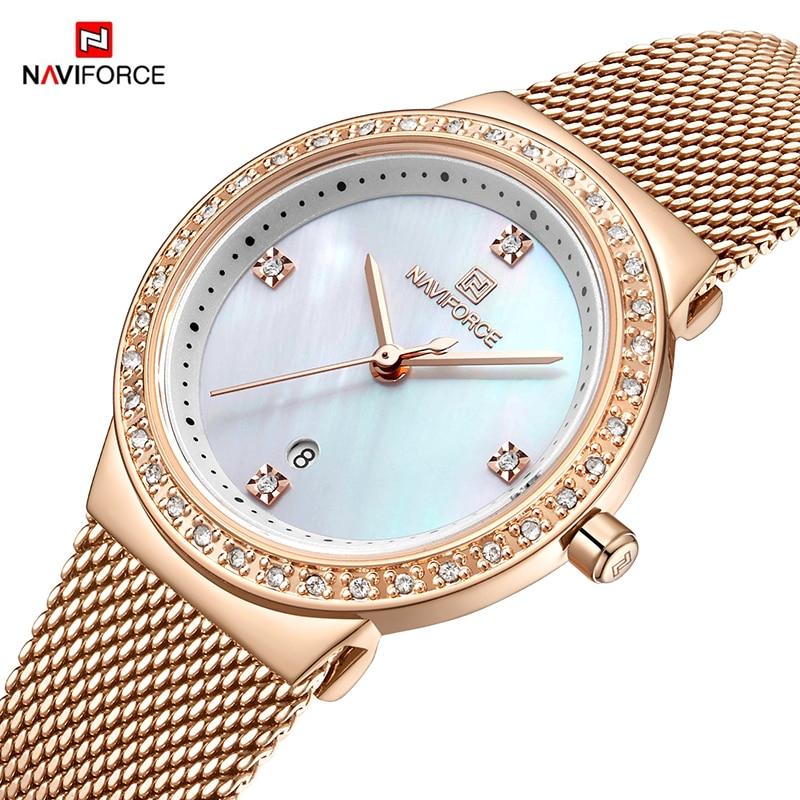 Часы наручные NAVIFORCE Женские повседневные, люксовые брендовые, простые Кварцевые водонепроницаемые
