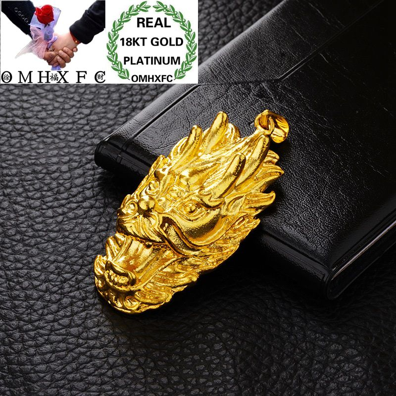 OMHXFC venta al por mayor de moda europea mujer Unisex fiesta boda cumpleaños regalo Dragon Lion Head 18KT Real Gold Charm Pendant PN74