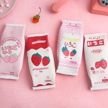 Trousse de lait fraise mignonne trousse de grande capacité drôle trousse stylo boîte papeterie pochette fournitures scolaires de bureau Escolar