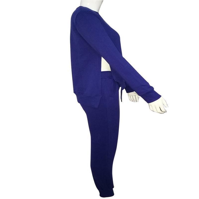 2017 Jesień Zima Kobiet Bawełna Dres 2 Sztuka Zestaw Odzież Stałe Sportwear Garnitur Kobieta 4