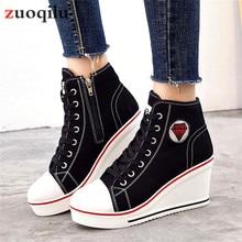 chunky shoes woman canvas platform shoes women casual high top shoes sneakers women wedge shoes zapatillas plataforma