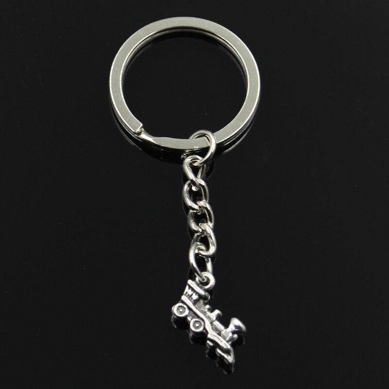 Mode 30mm Schlüssel Ring Metall Schlüssel Kette Keychain Schmuck Antike Bronze Silber Farbe Überzogen Doppelseitige Zug 17x12mm Anhänger