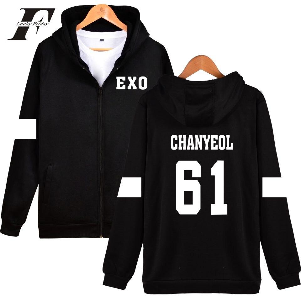 LUCKYFRIDAYF Kpop EXO Sudadera con capucha hombres coreano Popular Hip Hop abrigo de invierno moda hombres sudaderas con capucha Casual Clothe