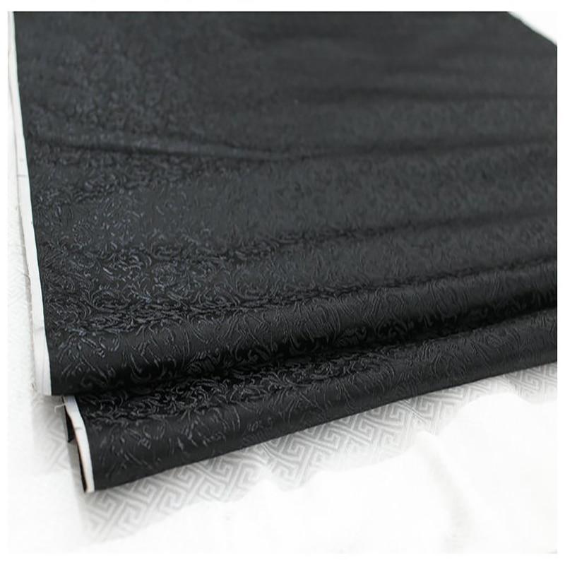 HLQON brocade malt flower black fabric patchwork felt tissue telas bed sheet cheongsam dress children coat cloth 75cm width