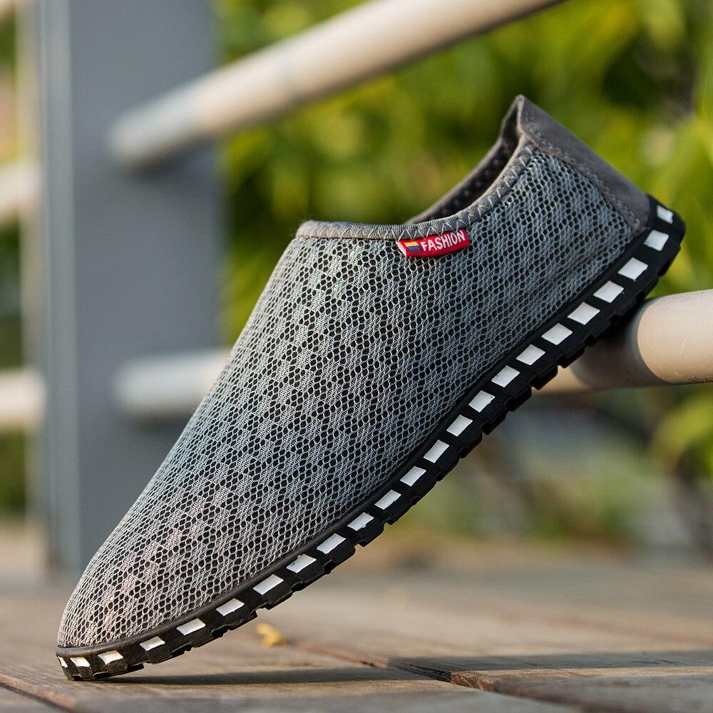 GOXPACER Summer Men Shoes Boat Casual Shoes Fashion Light Men Flats Network Breathable Shoes Men Plus Size 39-45 Lazy Slip On