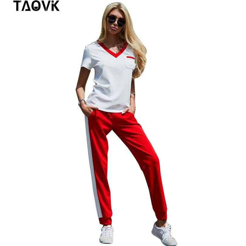 TAOVK Women 2Pcs Tracksuit Short Sleeve Hoodies T Shirt +Elastic Waist  Pants Sets Summer Wear Casual Sportting Suits