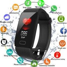 Pulsera inteligente de presión arterial Monitor de ritmo cardíaco rastreador de Fitness reloj inteligente pulsera de Fitness impermeable exposición del tiempo deporte
