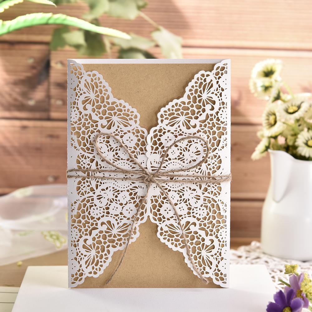 10 unids/lote de invitaciones a fiesta de boda de encaje tallado delicado elegante estilo europeo tarjetas Dropshipping 2019 nuevo