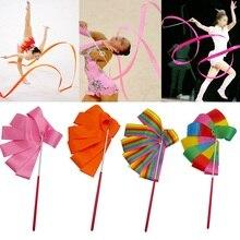 2M/4M Colorful Gym Ribbons Dance Ribbon Rhythmic Art Gymnastic Ballet Streamer Twirling Rod Stick For Gym Training Pro