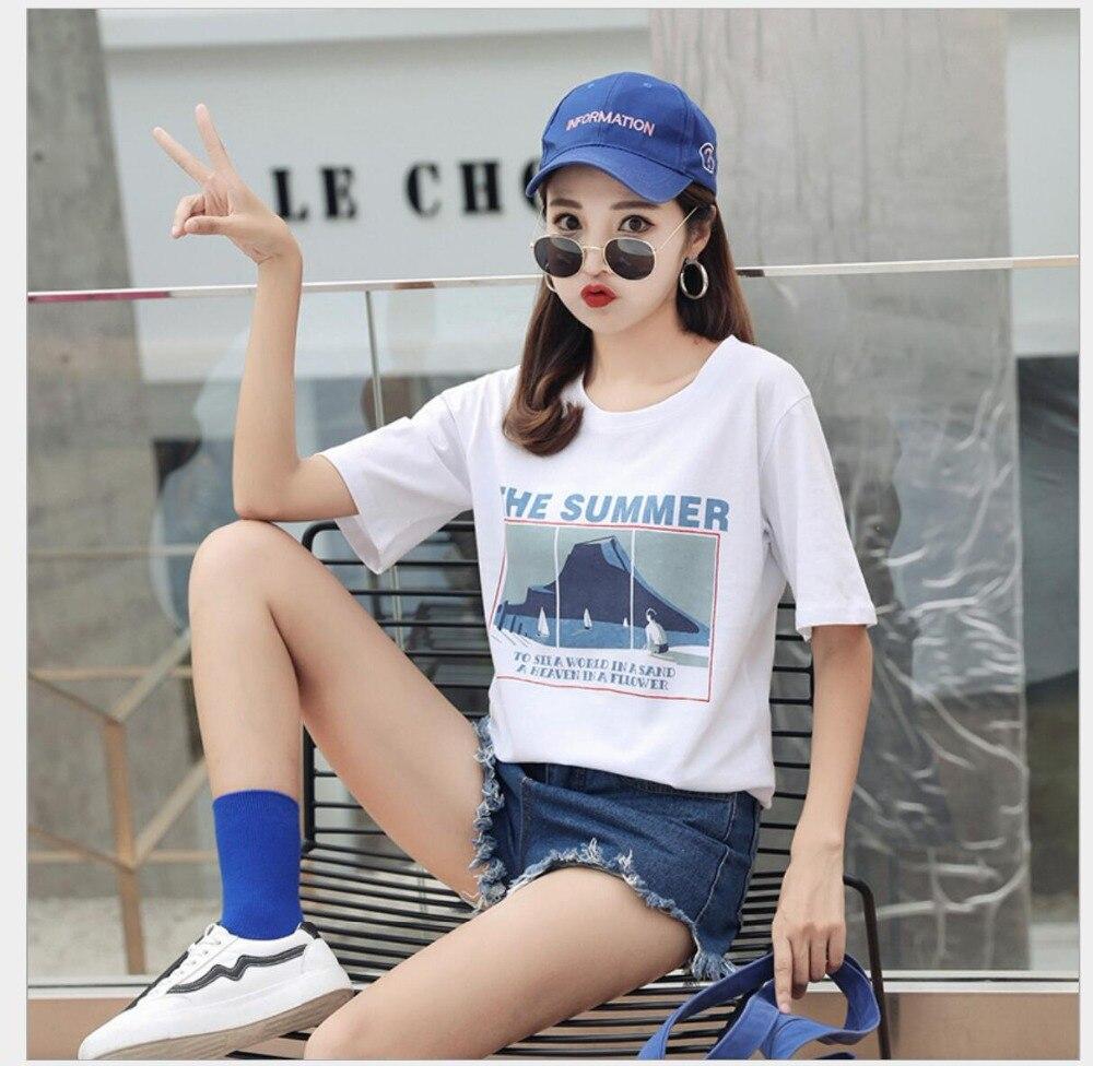 Nueva camiseta de moda mujer letra Primavera Verano estampado manga corta cuello redondo algodón Spandex mujeres Tops JY1003