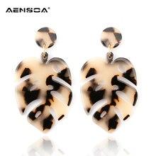 AENSOA léopard résine feuilles boucles doreilles pour femmes mode exagérée marron acrylique acétate Pendientes boucles doreilles goutte bijoux