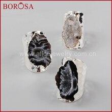 BOROSA nouvelle Druzy couleur argent forme libre pierre naturelle Druzy anneaux de bande ouverte, mode pierres précieuses naturelles bagues de fête pour femmes hommes S1388