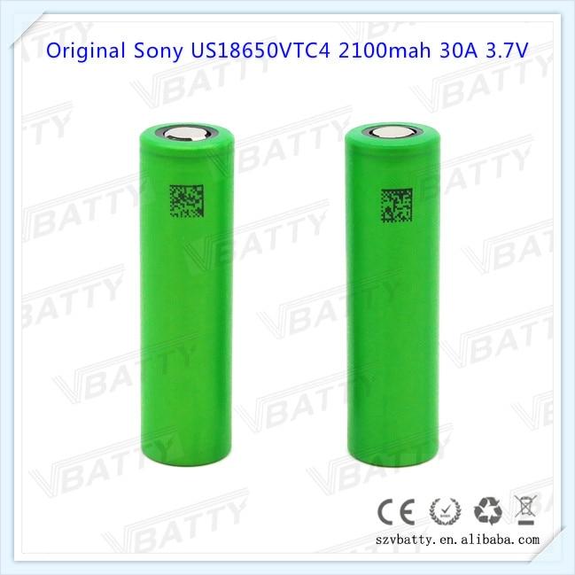 100% origianl para Sony US18650VTC4 18650 vtc4 2100 mah us18650vtc4 3,6 v 30a 18650 batería de iones de litio con tapa plana (1 pc)