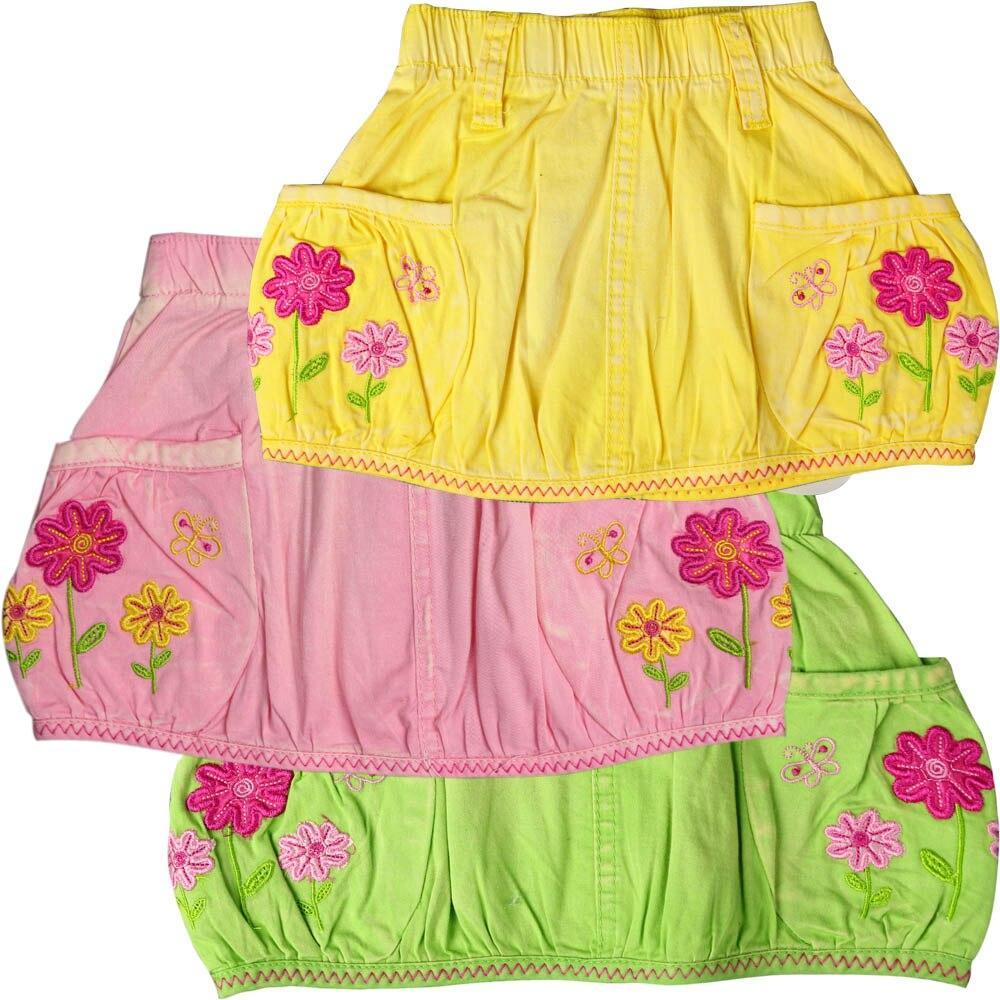 Saias bebê Meninas todo o algodão nostalgia lavado, três cores flores borboletas bordados desgaste dos miúdos Crianças saias MH 2323
