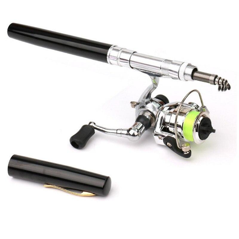 1M 1.4M Mini Liga de Alumínio Portátil de Bolso Pen Forma Fishing Rod Pólo Hastes da carcaça de Isca De Pesca + Carretel conjunto Combos de Pesca