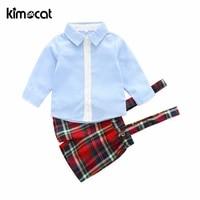 kimocat summer new fashion boys clothing set 2pcs shirtpant handsome gentleman sky blue baby boy clothes newborn clothes infant