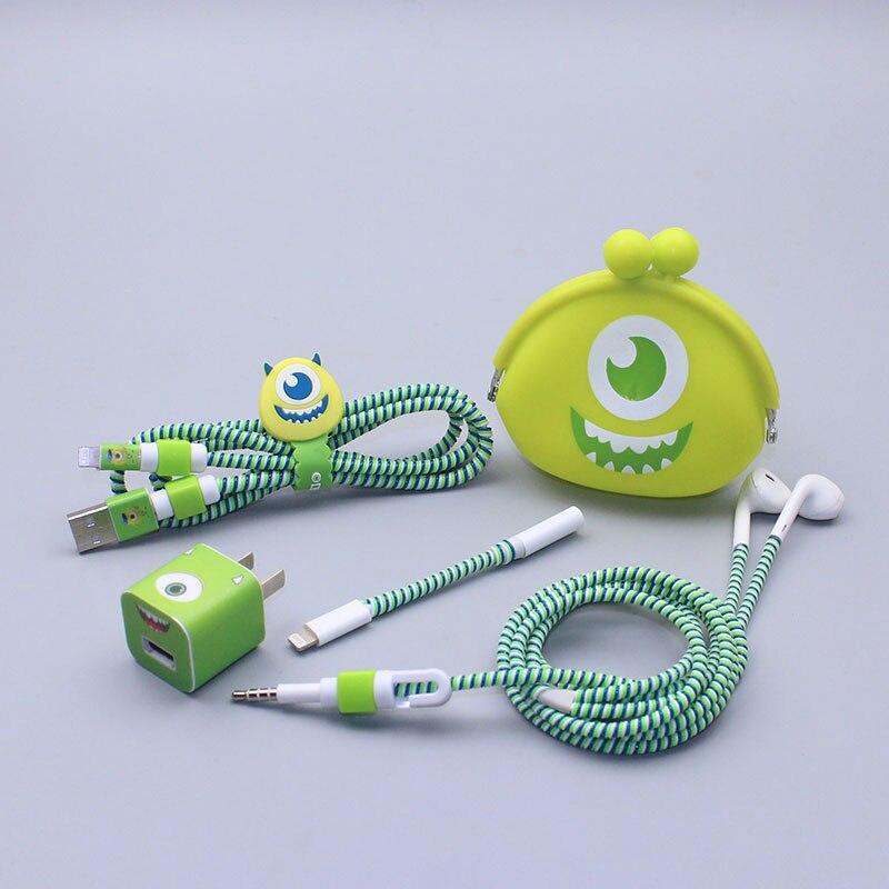 Хороший подарок, милый мультяшный USB кабель, защита для наушников, набор с намоткой кабеля, наклейки, Спиральный шнур, протектор для iphone 5 6 6s 7plus