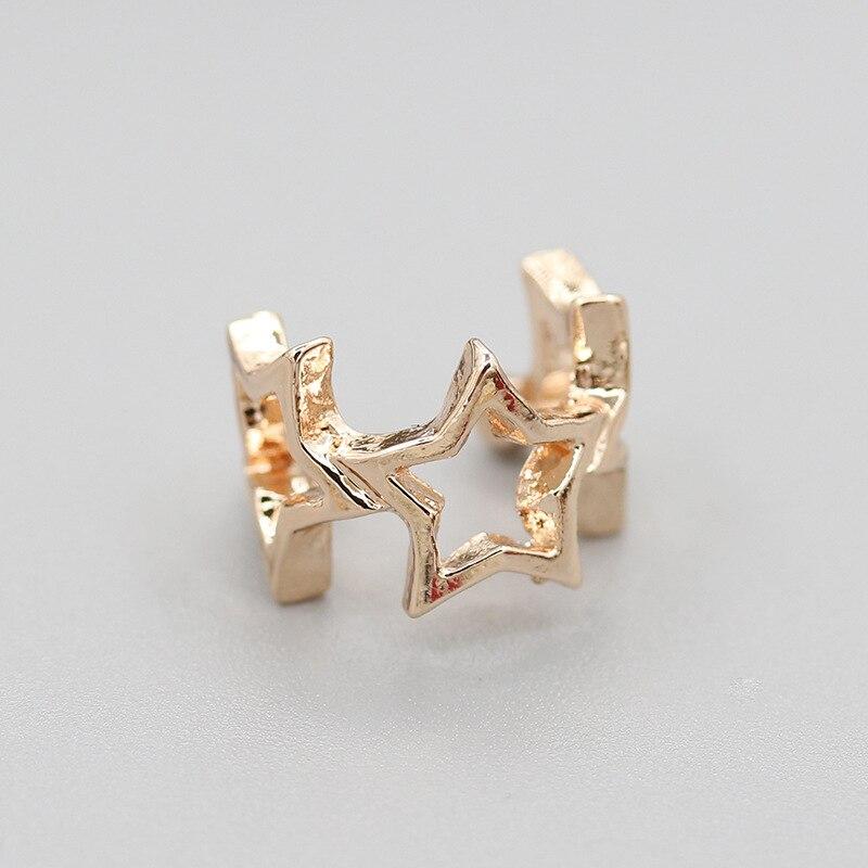 Женские серьги-клипсы с тройной полой звездой, золотистые серебряные металлические серьги-манжеты