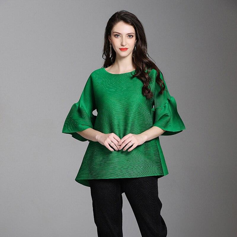Lanmrem 2020 outono novo padrão o pescoço metade alargamento manga curta camiseta plissado elástico senhoras moda solta t-curto yf724